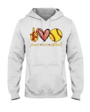 Peace love Softball shirt Hooded Sweatshirt thumbnail