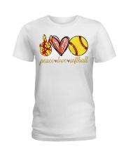 Peace love Softball shirt Ladies T-Shirt thumbnail