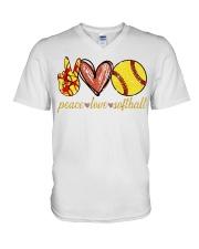 Peace love Softball shirt V-Neck T-Shirt thumbnail