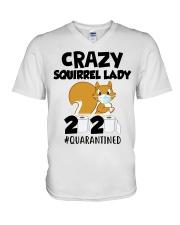 Crazy Squirrel lady 2020 quarantined T-shirt V-Neck T-Shirt thumbnail