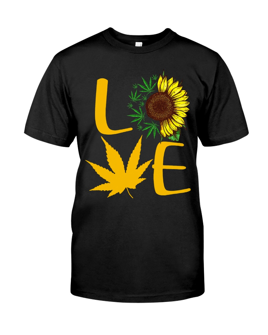 Love Sunflower Weed Cannabis shirt Classic T-Shirt