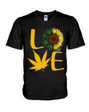 Love Sunflower Weed Cannabis shirt V-Neck T-Shirt thumbnail