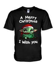 Baby Yoda A Merry Christmas I wish you shirt V-Neck T-Shirt thumbnail