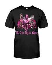Horses breast cancer no one fights alone shirt Classic T-Shirt front