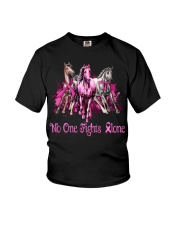 Horses breast cancer no one fights alone shirt Youth T-Shirt thumbnail