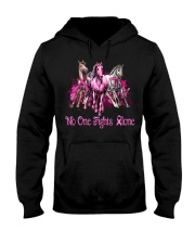 Horses breast cancer no one fights alone shirt Hooded Sweatshirt thumbnail
