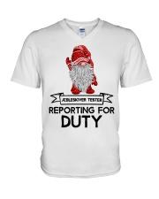 Gnomies Aebleskiver Tester Reporting for Duty V-Neck T-Shirt thumbnail