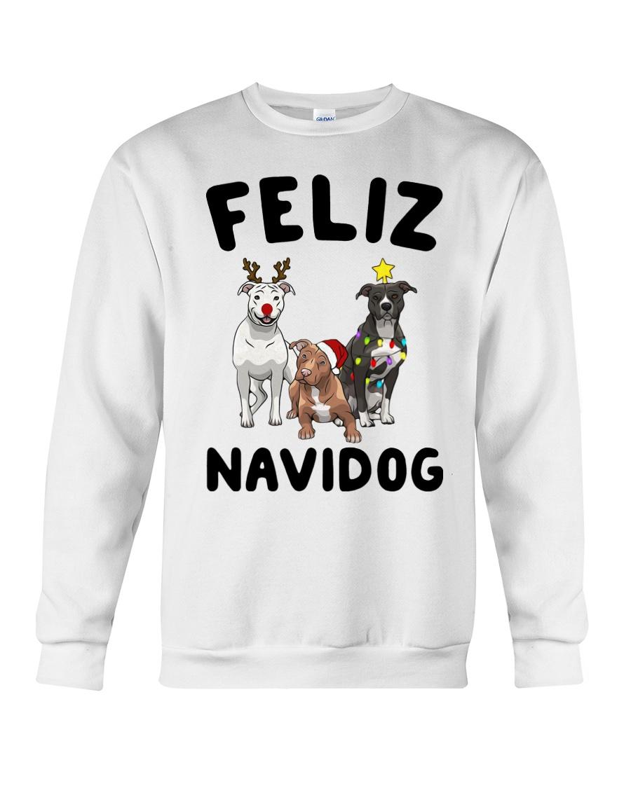 Feliz Navidog Pit Bull Christmas Crewneck Sweatshirt