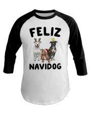 Feliz Navidog Pit Bull Christmas Baseball Tee thumbnail