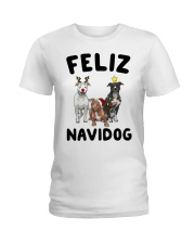 Feliz Navidog Pit Bull Christmas Ladies T-Shirt tile