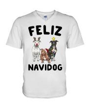 Feliz Navidog Pit Bull Christmas V-Neck T-Shirt thumbnail