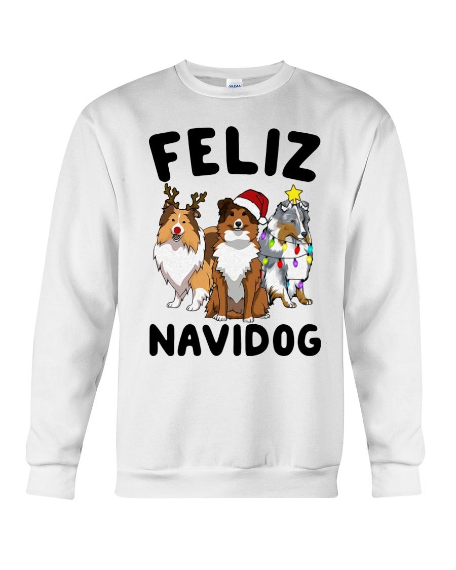 Feliz Navidog Shetland Sheepdogs Christmas Crewneck Sweatshirt