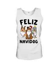 Feliz Navidog Shetland Sheepdogs Christmas Unisex Tank thumbnail