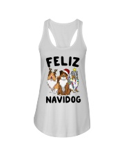 Feliz Navidog Shetland Sheepdogs Christmas Ladies Flowy Tank tile