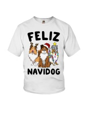 Feliz Navidog Shetland Sheepdogs Christmas Youth T-Shirt thumbnail
