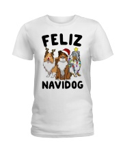Feliz Navidog Shetland Sheepdogs Christmas Ladies T-Shirt thumbnail