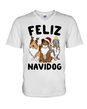 Feliz Navidog Shetland Sheepdogs Christmas V-Neck T-Shirt thumbnail