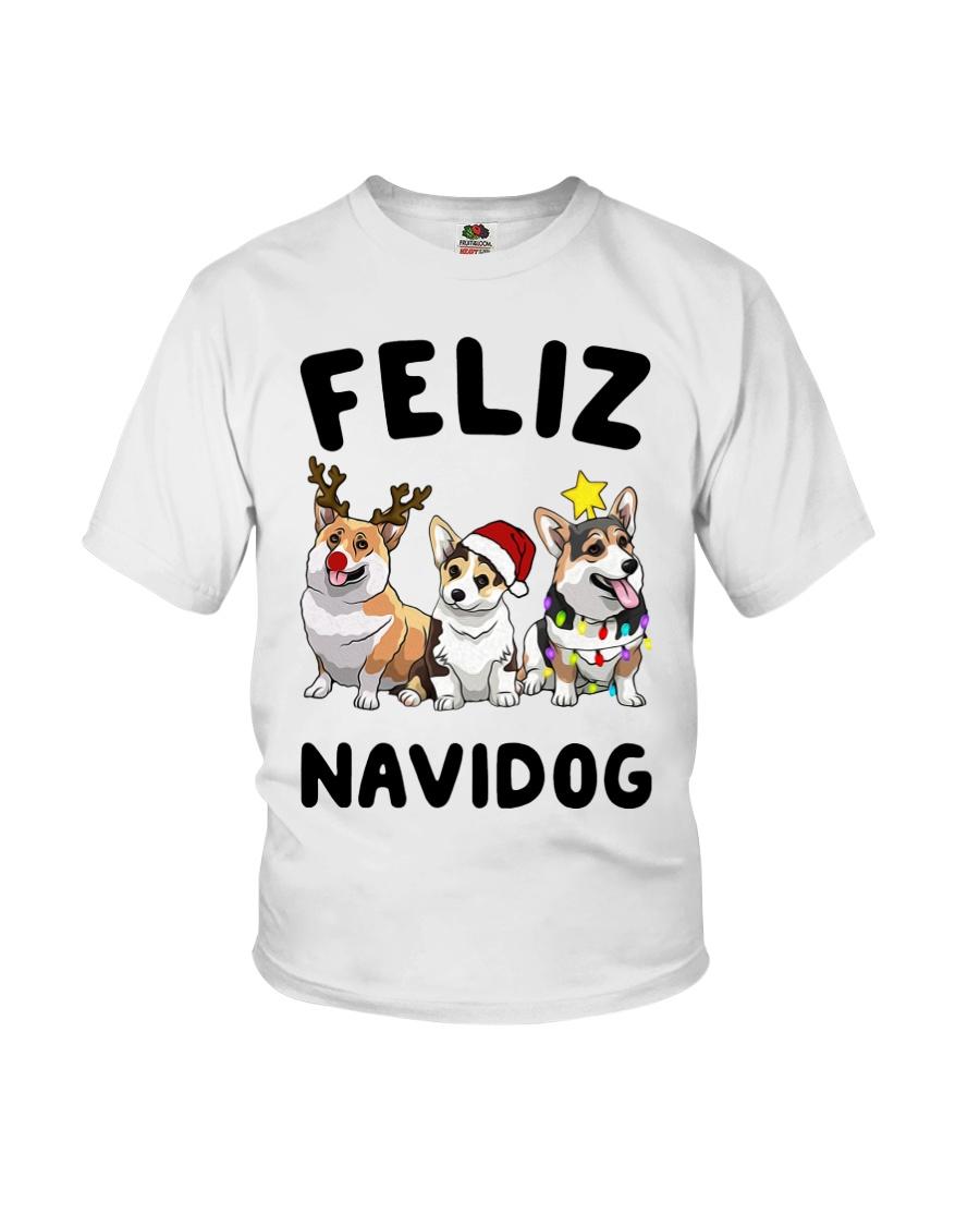 Feliz Navidog Corgi Christmas Youth T-Shirt