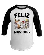 Feliz Navidog Corgi Christmas Baseball Tee thumbnail