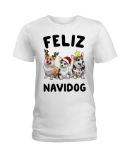 Feliz Navidog Corgi Christmas Ladies T-Shirt thumbnail