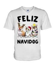 Feliz Navidog Corgi Christmas V-Neck T-Shirt thumbnail