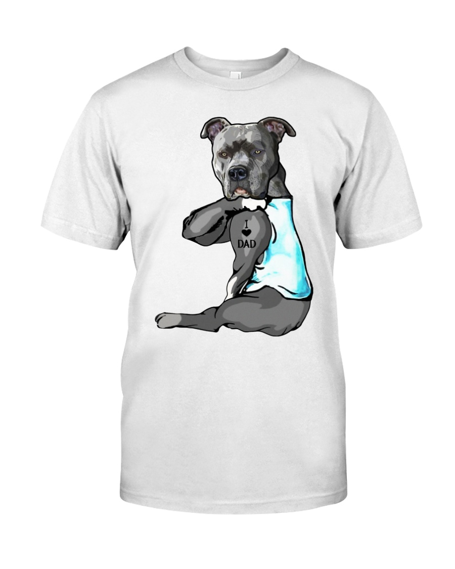 Pitbull Tattoo I love Dad shirt Classic T-Shirt