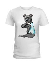Pitbull Tattoo I love Dad shirt Ladies T-Shirt thumbnail