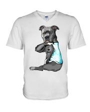 Pitbull Tattoo I love Dad shirt V-Neck T-Shirt thumbnail