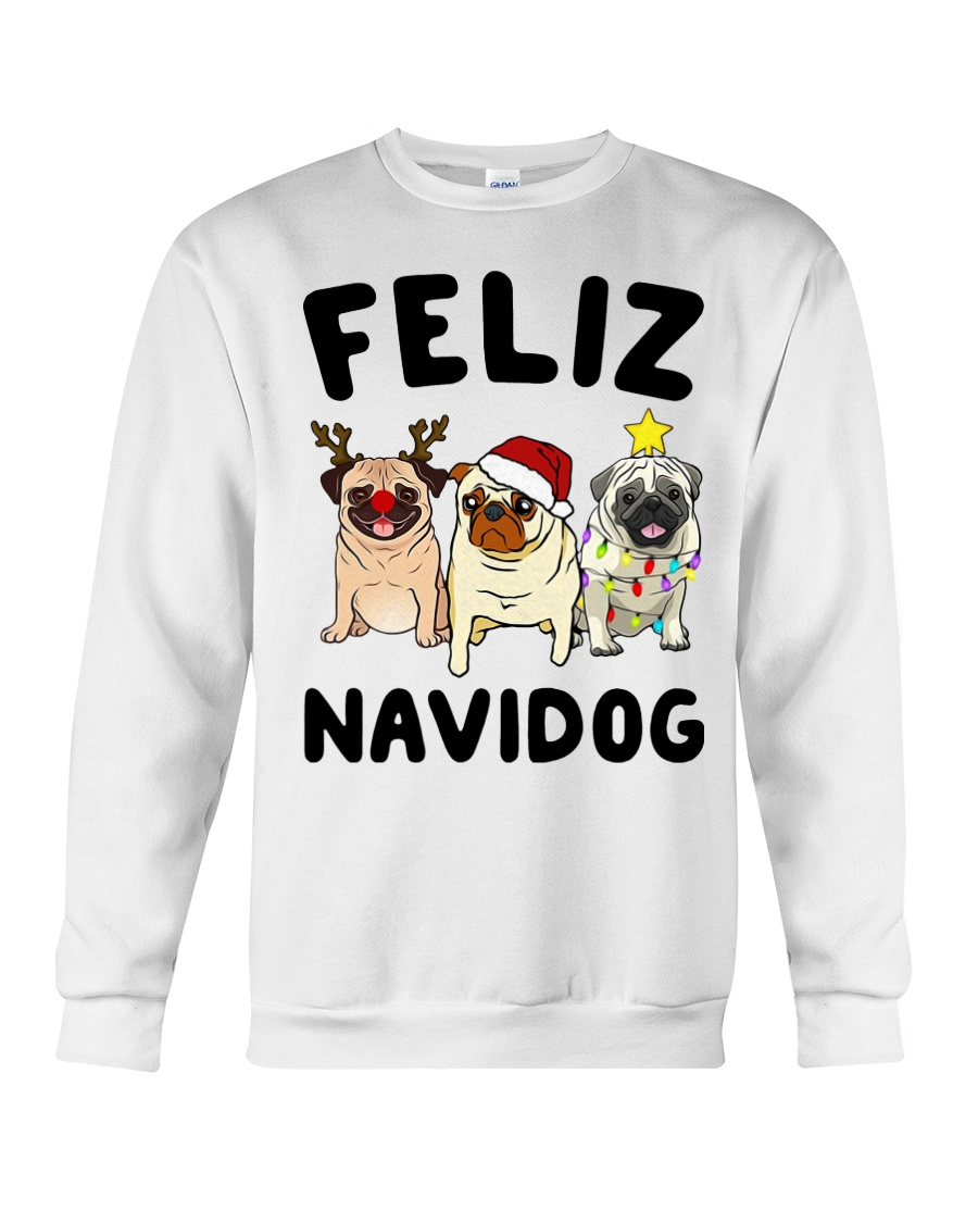 Feliz Navidad Pug Christmas Crewneck Sweatshirt