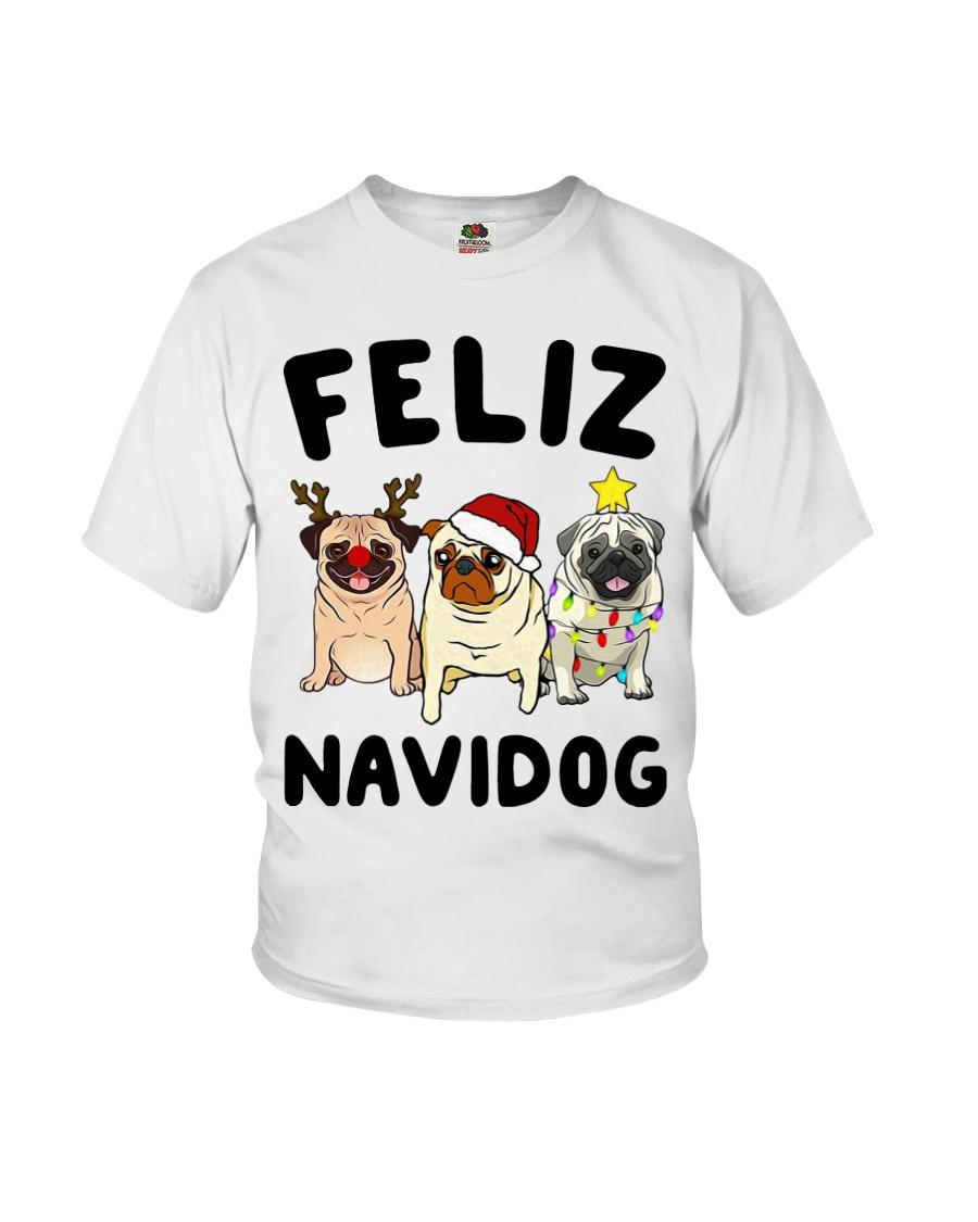 Feliz Navidad Pug Christmas Youth T-Shirt
