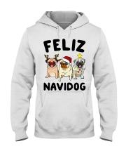 Feliz Navidad Pug Christmas Hooded Sweatshirt thumbnail