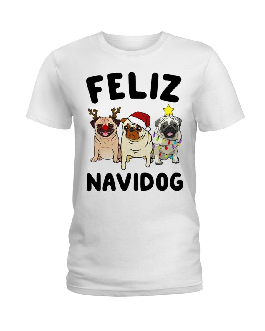 Feliz Navidad Pug Christmas Ladies T-Shirt