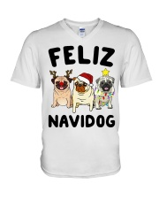 Feliz Navidad Pug Christmas V-Neck T-Shirt thumbnail