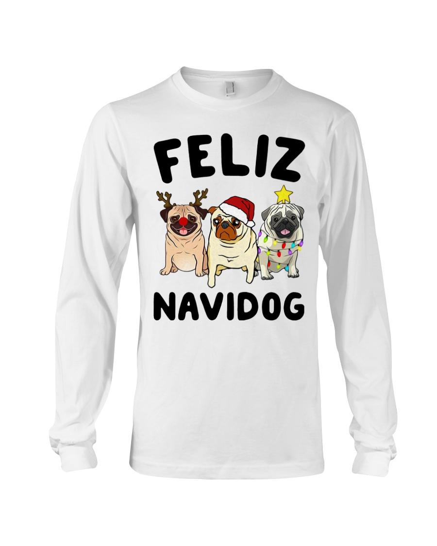 Feliz Navidad Pug Christmas Long Sleeve Tee