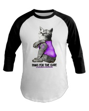 Cat Tattoo Paw for the cure alzheimer Awareness  Baseball Tee thumbnail