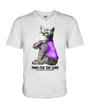 Cat Tattoo Paw for the cure alzheimer Awareness  V-Neck T-Shirt thumbnail