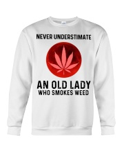 Never underestimate an old lady who smokes weed Crewneck Sweatshirt thumbnail