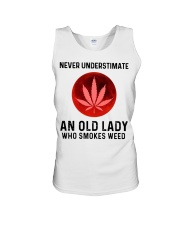 Never underestimate an old lady who smokes weed Unisex Tank thumbnail