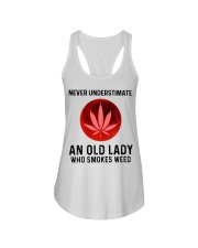 Never underestimate an old lady who smokes weed Ladies Flowy Tank thumbnail
