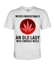 Never underestimate an old lady who smokes weed V-Neck T-Shirt thumbnail