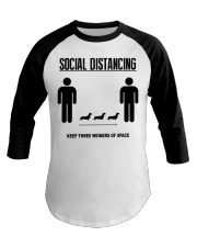 Social Distancing keep three weiners of space  Baseball Tee tile