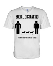 Social Distancing keep three weiners of space  V-Neck T-Shirt thumbnail