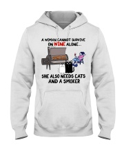 woman wine alone she also needs a smoker and cats Hooded Sweatshirt thumbnail