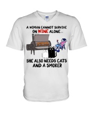 woman wine alone she also needs a smoker and cats V-Neck T-Shirt thumbnail