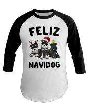 Feliz Navidog Miniature Schnauzer Christmas Baseball Tee thumbnail