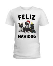 Feliz Navidog Miniature Schnauzer Christmas Ladies T-Shirt thumbnail