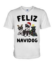 Feliz Navidog Miniature Schnauzer Christmas V-Neck T-Shirt thumbnail