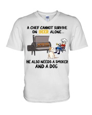 Chef Beer beer he also needs a smoker and a dog  V-Neck T-Shirt thumbnail