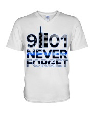 Back the Blue 9II01 Never Forget American Fla V-Neck T-Shirt thumbnail