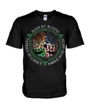 Irish by blood patriot by choice American Tree  V-Neck T-Shirt thumbnail